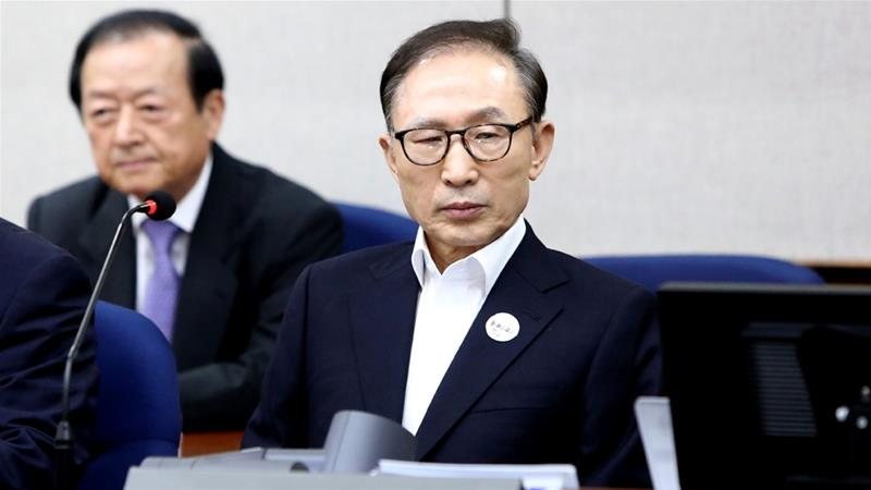 Lee was arrested in March on charges including bribery, embezzlement and abuse of power. [File: Chung Sung-jun/Pool via Reuters]