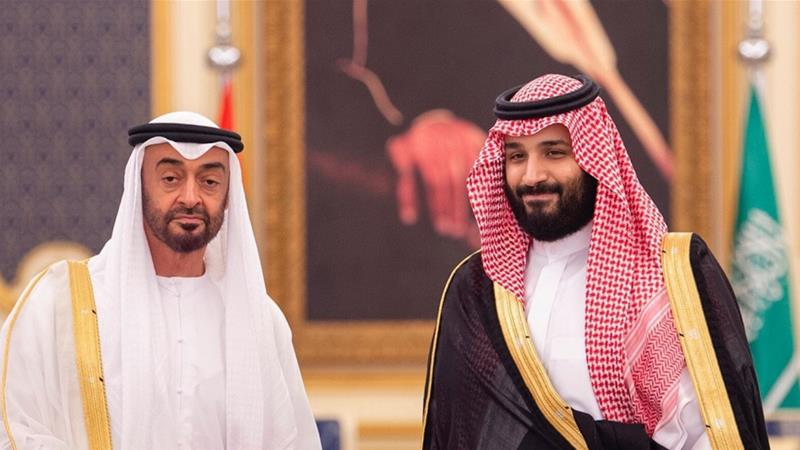 Abu Dhabi's Crown Prince Sheikh Mohammed bin Zayed Al Nahyan poses for a photo with Saudi Crown Prince Mohammed bin Salman  in Jeddah, Saudi Arabia, June 6, 2018 [Handout/Reuters]
