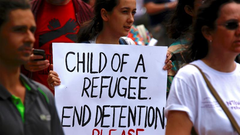 A Sydney rally in support of asylum seekers and refugees held on Nauru and Manus islands [David Gray/Reuters]