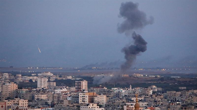 Smoke rises during an Israeli air strike in Gaza