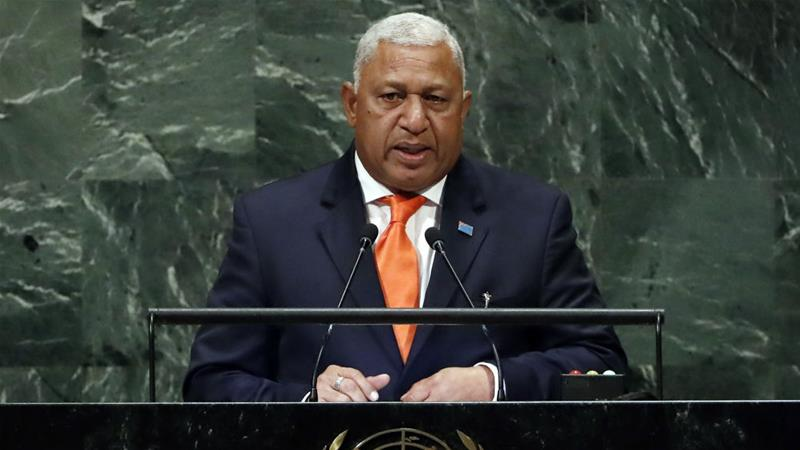 Prime Minister Bainimarama has been a strong proponent of action on climate change as Fiji's seas rise [Richard Drew/AP]