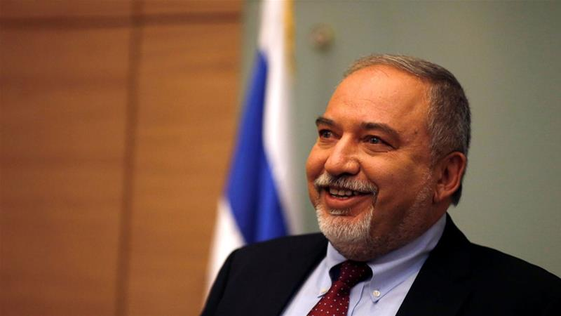 Lieberman delivered a statement after his party, Yisrael Beiteinu, faction meeting at the Knesset [Ammar Awad/Reuters]