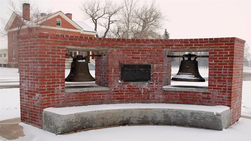 Bells of Balangiga at the FE Warren Air Force Base near Cheyenne, Wyoming [RJ Oriez/US Air Force via Reuters]