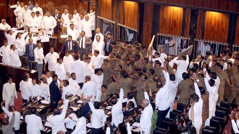 Sri Lanka's parliament descended into chaos for a second time on Friday [Reuters]