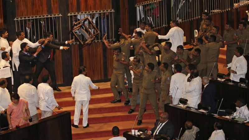 Chilli paste, books and chairs thrown in Sri Lanka parliament