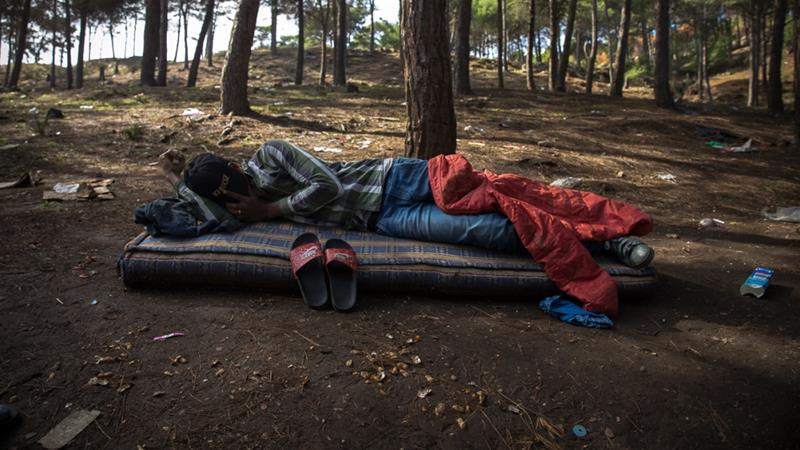The forest sheltering African migrants in Morocco