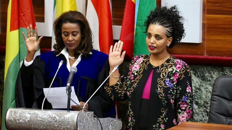 Prime Minister Abiy, said Mideksa (right), has 'independence and impartiality' to conduct free and fair election in 2020 [Handout/Ethiopia Prime Minister's Office]