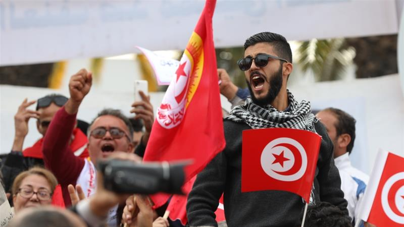 About 650,000 public sector workers were joined by thousands of other people across Tunisia for the protests [Yassine Gaidi/Anadolu]