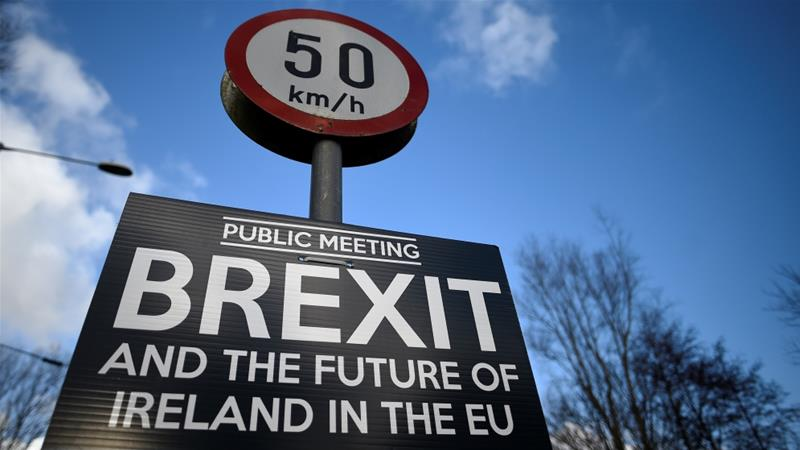 A Brexit sign is seen between Donegal in the Republic of Ireland and Londonderry in Northern Ireland at the border village of Muff, Ireland [Clodagh Kilcoyne/Reuters]