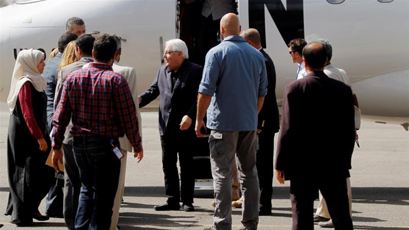 UN envoy to Yemen Martin Griffiths arrived in the battleground port city of Hodeidah on Friday to urge calm ahead of planned talks to end the country's war [Mohamed al-Sayaghi/Reuters]