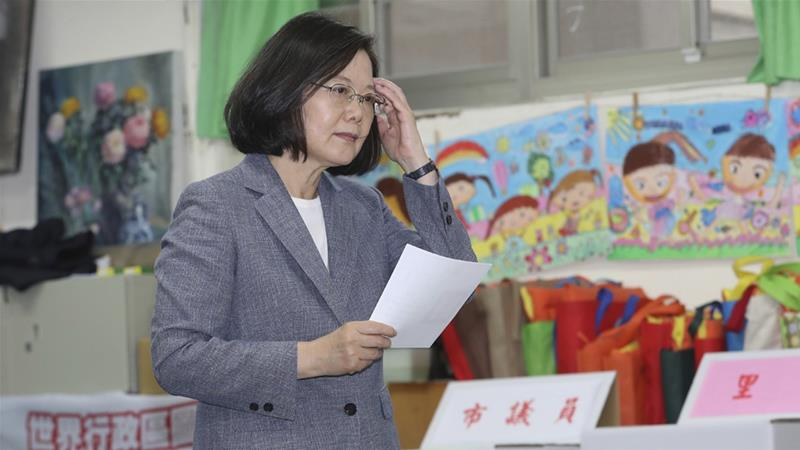 Taiwanese President Tsai Ing-wen waited to cast her ballot on Saturday [Chang Haoan/AP Photo]