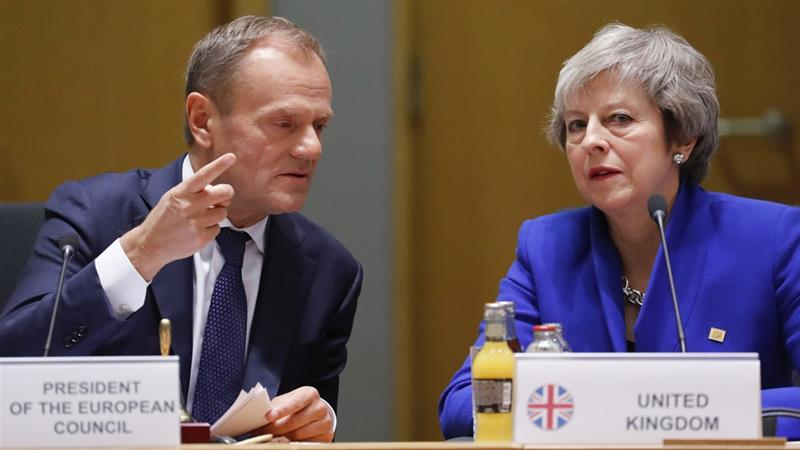 Donald Tusk's comments have been slammed by British Prime Minister Theresa May's spokesperson [AP]