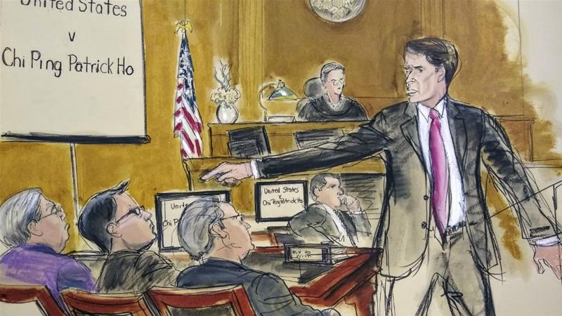 In this courtroom sketch, prosecutor Paul Hayden points at defendant Patrick Ho during opening statements in New York [Elizabeth Williams/AP]