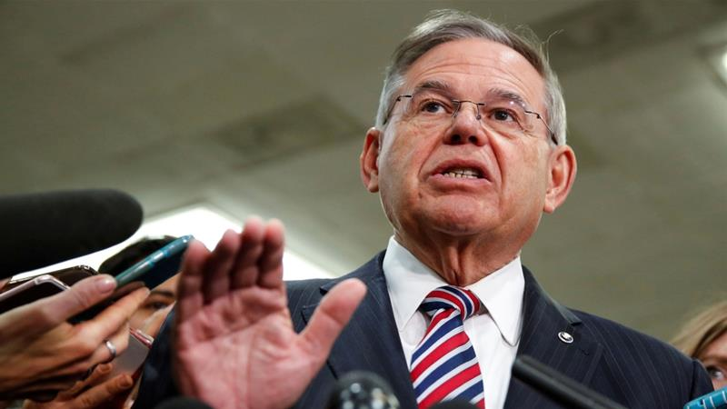 Senator Menendez speaks to the media after a closed briefing for senators about the latest developments related to the murder of Khashoggi