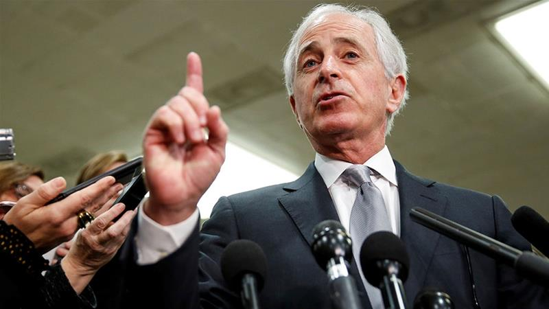 Senator Bob Corker speaks to the media after a closed briefing for senators about the latest developments related to the death of Saudi journalist Jamal Khashoggi [Joshua Roberts/Reuters]