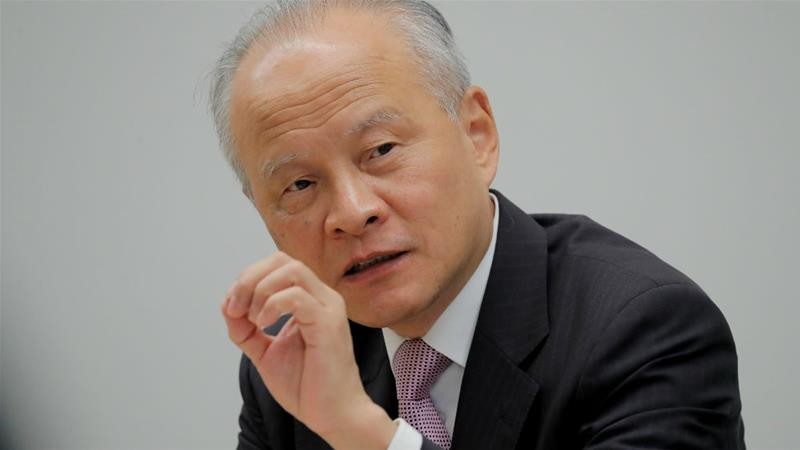 China's ambassador to the US, Cui Tiankai, responds to questions during an interview with Reuters [Jim Bourg/Reuters]