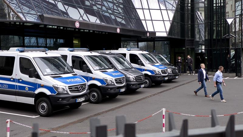 A total of 170 officers from the Frankfurt public prosecutor's office were involved in the raid on Thursday [Michael Probst/AP]