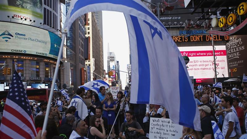 Israel supporters rallied in New York during Israel's offensive in Gaza in 2014 [File: Eduardo Munoz/Reuters]