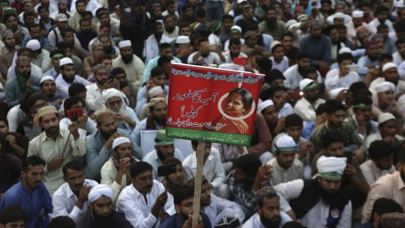Bibi's acquittal infuriated Pakistan's hardline parties who held nationwide protests demanding her execution [KM Chaudary/AP Photo]