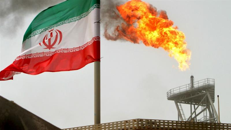 A gas flare on an oil production platform in Iran's Soroush oil fields