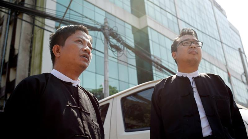 Lawyers of jailed Reuters journalists Wa Lone and Kyaw Soe Oo file an appeal to the High Court in Yangon on Monday [Ann Wang/Reuters]