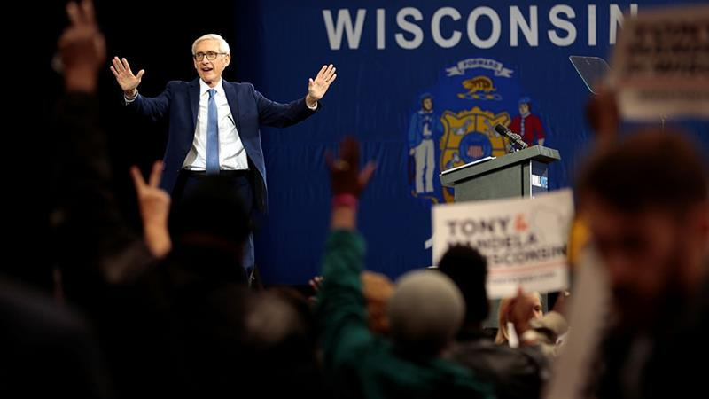 Democrat Tony Evers hopes to unseat incumbent Scott Walker as governor of Wisconsin [Sara Stathas/Reuters]