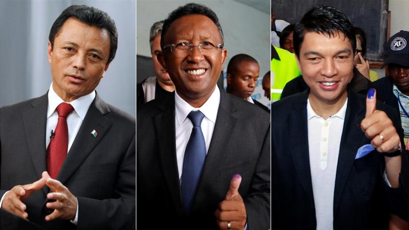 Presidential frontrunners (pictured from left-right) Marc Ravalomanana, Hery Rajaonarimampianina and Andry Rajoelina [Mike Hutchings/Thomas Mukoya/Reuters]
