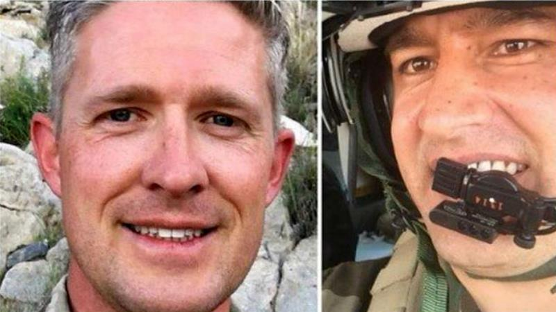 Major Brent Taylor and Major Abdul Rahman Rahmani worked together in Afghanistan [Left: Facebook] [Right: Buzzfeed]