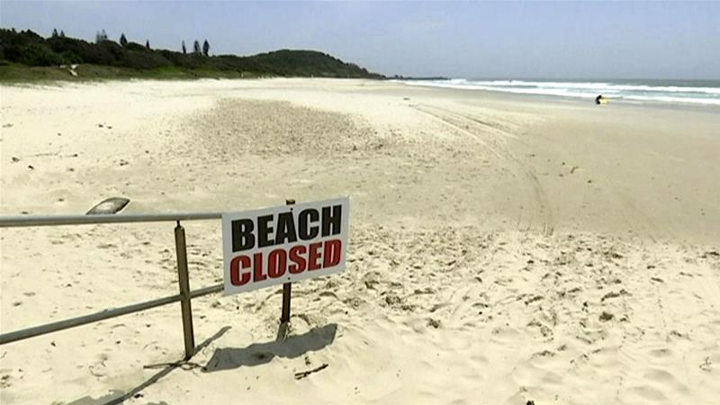 An image made from video shows the beach where a shark attack occurred in Ballina Australia on Wednesday