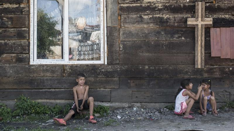 Roma have faced numerous 'pogroms' in Ukraine in recent years [Evgeniy Malolletka/OSCE Project Coordinator Press Service via AP]