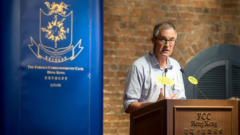 Victor Mallet speaks at the FCC in Hong Kong in August [Paul Yeung via Reuters]