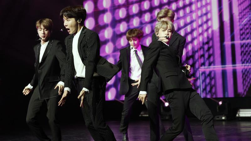South Korean pop group BTS performs during a Korean cultural event in Paris