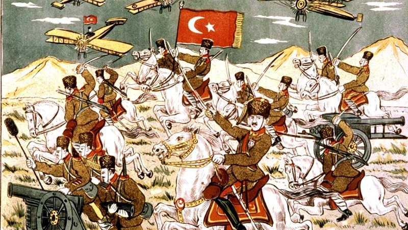 Turkish popular print: Mustafa Kemal Ataturk attacking the Greeks in Sekariae in 1922 [Getty Images]