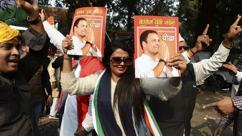 The elections are also a test for Rahul Gandhi, the chief of the main opposition Congress party [Sajjad Hussain/AFP]