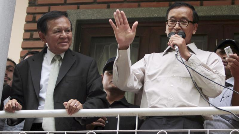 The CNRP was originally founded after Sam Rainsy (R) and Kem Sokha (L) joined forces [File: Heng Sinith/The Associated Press]