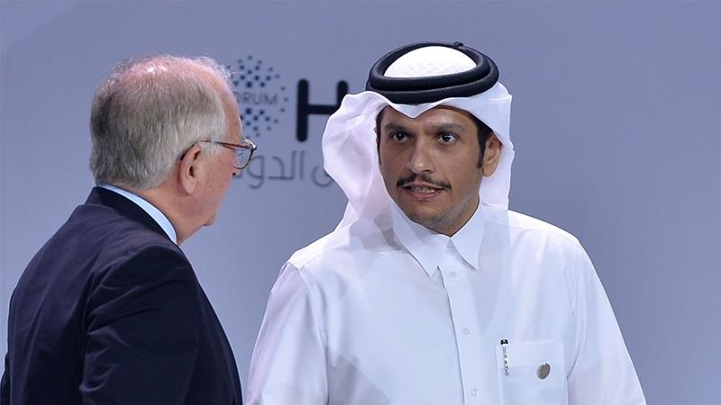 Qatari Foreign Minister Sheikh Mohammed bin Abdulrahman Al Thani attends the opening session of the Doha Forum [Noushad Thekkayil/EPA]