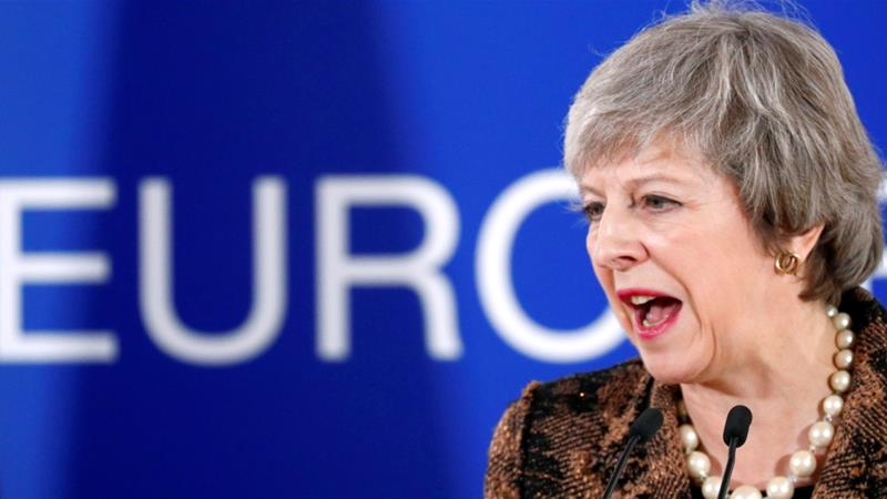 May met EU leaders in Brussels to discuss how to save the Brexit deal [Francois Lenoir/Reuters]