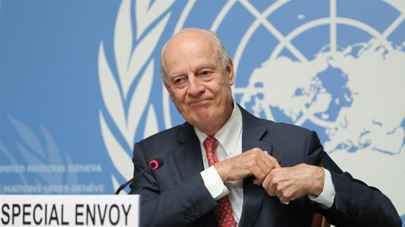 Meeting marked a final moment in Staffan de Mistura's four-year tenure but didn't produce a breakthrough for peace [Denis Balibouse/Reuters]