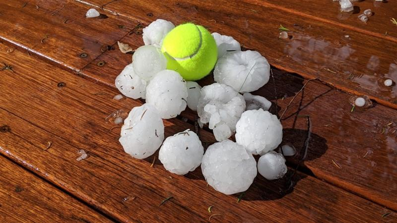 Hailstones the size of tennis balls have been battering Sydney [Todd Baker]