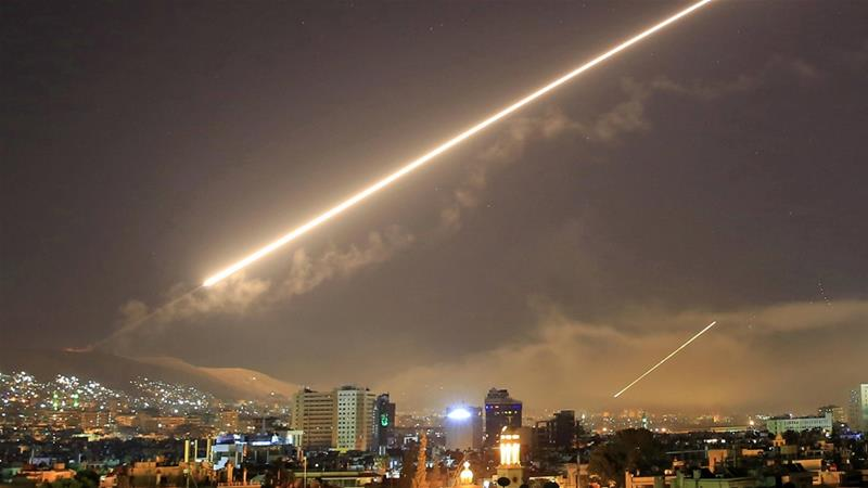 Missile fire lights up the sky over Damascus as the US launches an attack on Syria, April 14, 2018 [File: Hassan Ammar/AP]