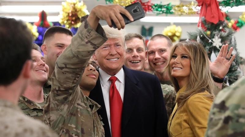 Image result for Trump visits troops Iraq