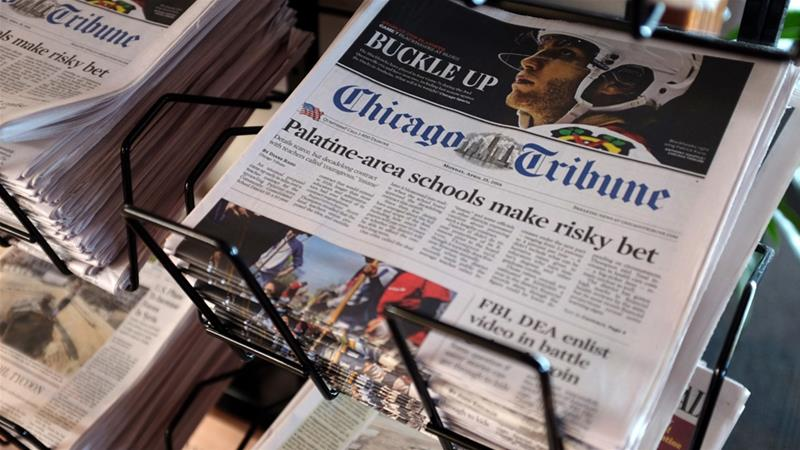 Chicago Tribune is among the many newspaper prints affected by the cyber attack [File: Kiichiro Sato/AP Photo]
