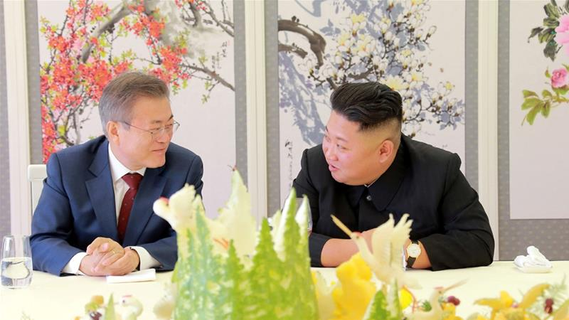 Kim and Moon met three times in 2018 in an unprecedented thaw in inter-Korean relations [File: KNCA via Reuters]
