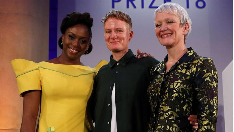 Author Chimamanda Ngozi Adichie, 2018 Turner Prize award winner artist Charlotte Prodger and Tate Director Maria Balshaw pose during a photocall at the Tate Britain in London, Britain December 4, 2018. [File: REUTERS/Peter Nicholls]