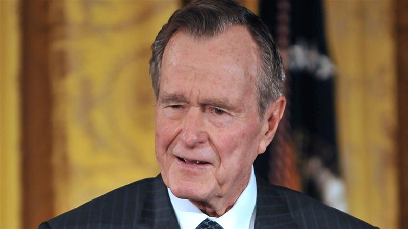 Former President George W. Bush breaks down remembering his father and sister