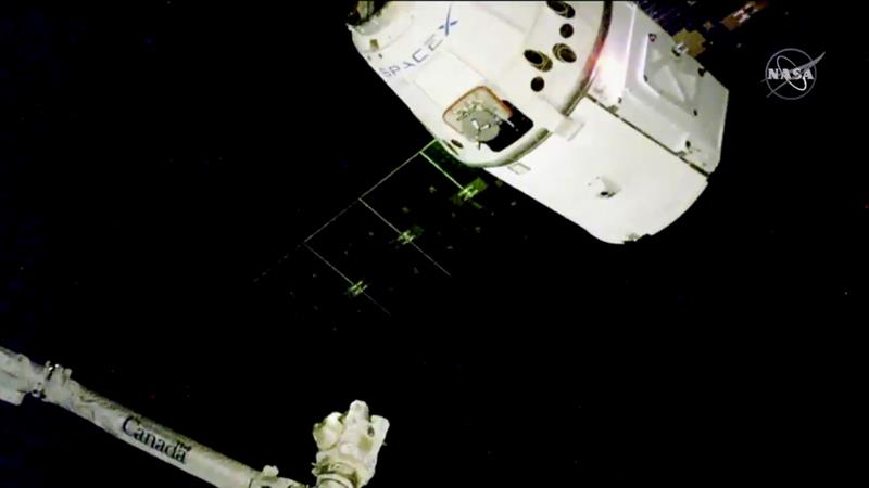 The Dragon delivered Christmas supplies, such as turkey and cranberry sauce [NASA TV via AP]