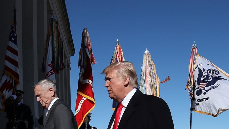 Donald Trump and Defense Secretary Jim Mattis, left, walk into the Pentagon January 18, 2018 [Mark Wilson/Getty Images/AFP]