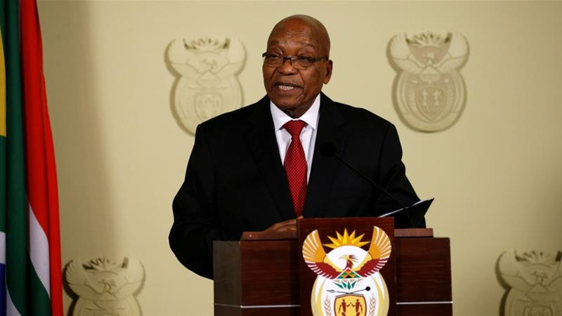 Jacob Zuma announced his resignation during a speech at Union Buildings in Pretoria [Siphiwe Sibeko/Reuters]