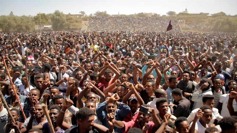 Analysts say mass protests in Ethiopia's Oromia region pushed Hailemariam to resign [Tiksa Negeri/Reuters]