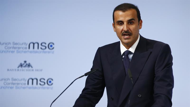 Qatar has developed new trade routes and accelerated economic diversity, Sheikh Tamim said [Ralph Orlowski/Reuters]